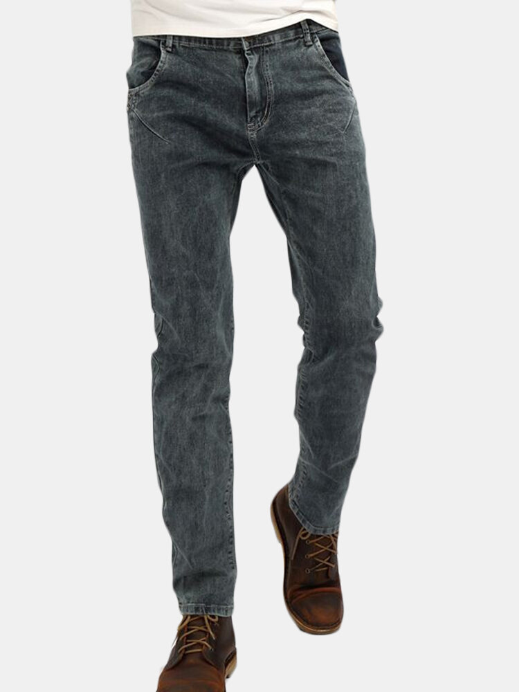 Casual Elastic Slim Fit Brass Button Washed Jeans For Men