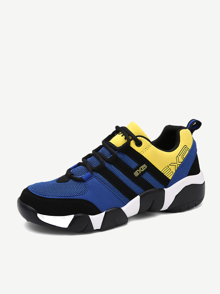 Large Size Men Mesh Splicing Breathable Light Weight Lace Up Running Shoes