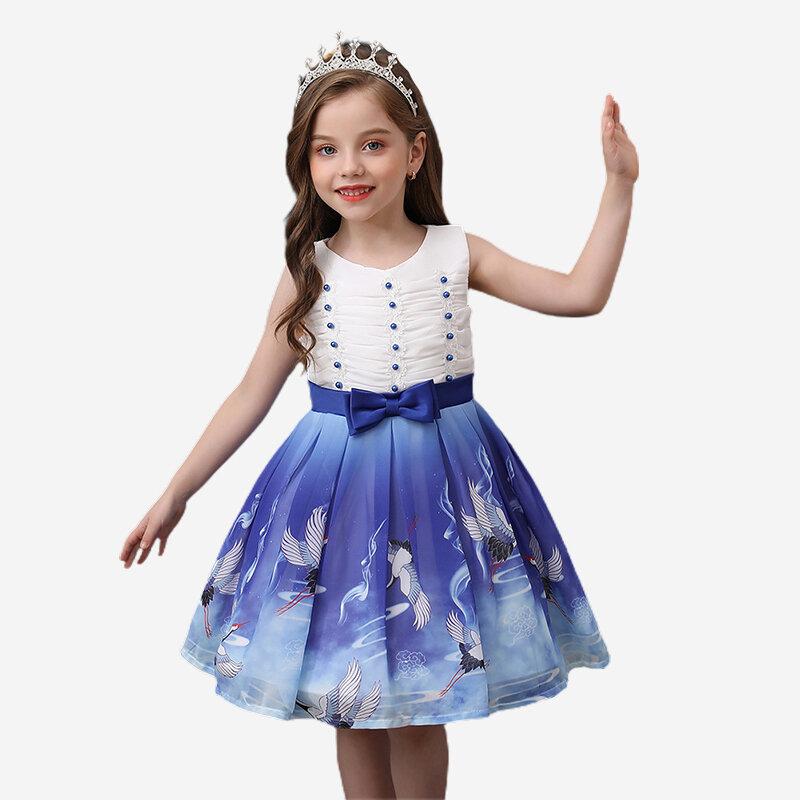Dessin animé imprimé bambins filles sans manches Pageant princesse fête robe en tulle pour 3-11 ans