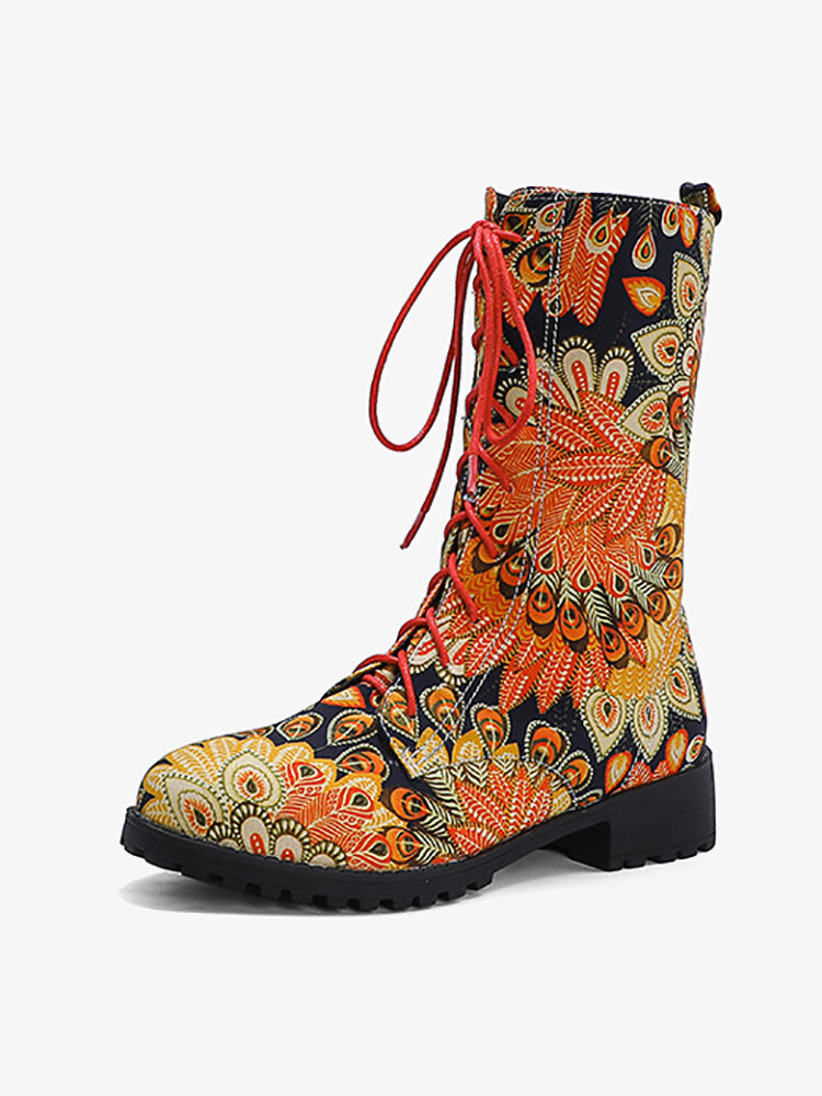 Embroidered Printing Sunflowers Block Heel Round Toe Lace-up Mid-calf Combat Boots for Women