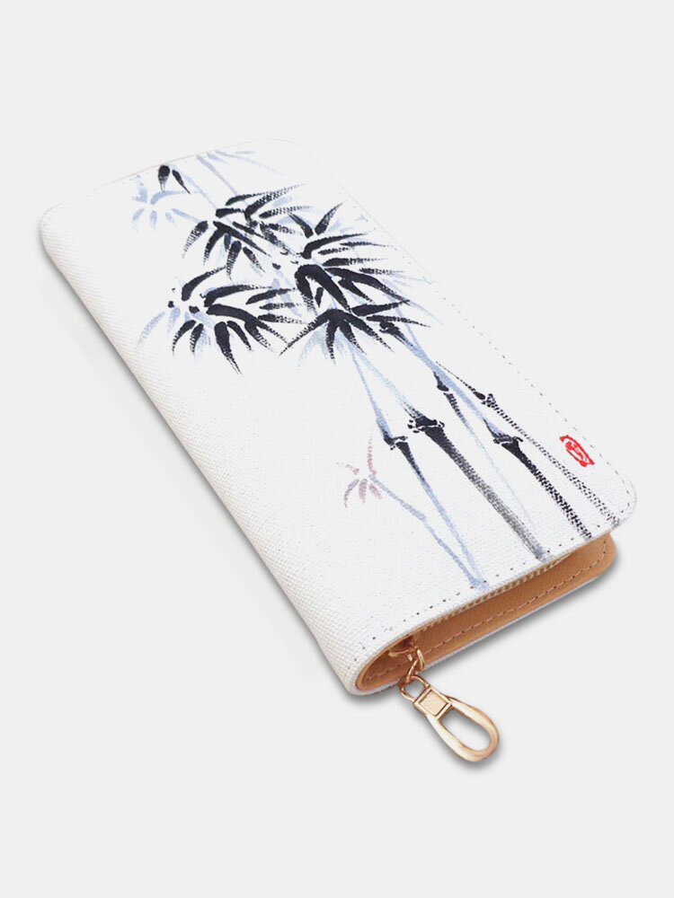 Women Multifunction Ethnic Hand-painted Bamboo 6.5 Inch Phone Bag Long Wallet
