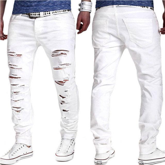 Pantalones Vaqueros Nuevos Pantalones Lavados Con Orificios Blancos Para Hombres Europeos Y Americanos Pantalones De Pies Delgados Comercio Electronico Newchic