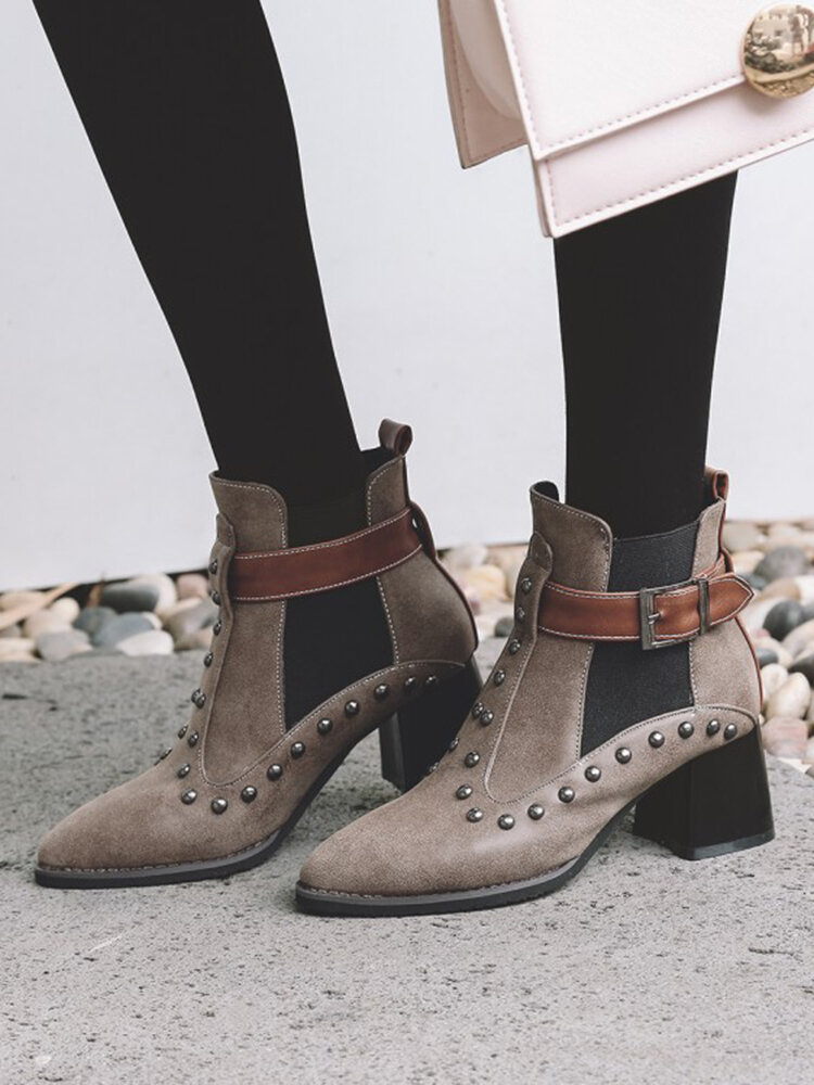 Large Size Women Casual Retro Rivet Design Pointed Toe Elastic Slip-On Chunky Heel Boots