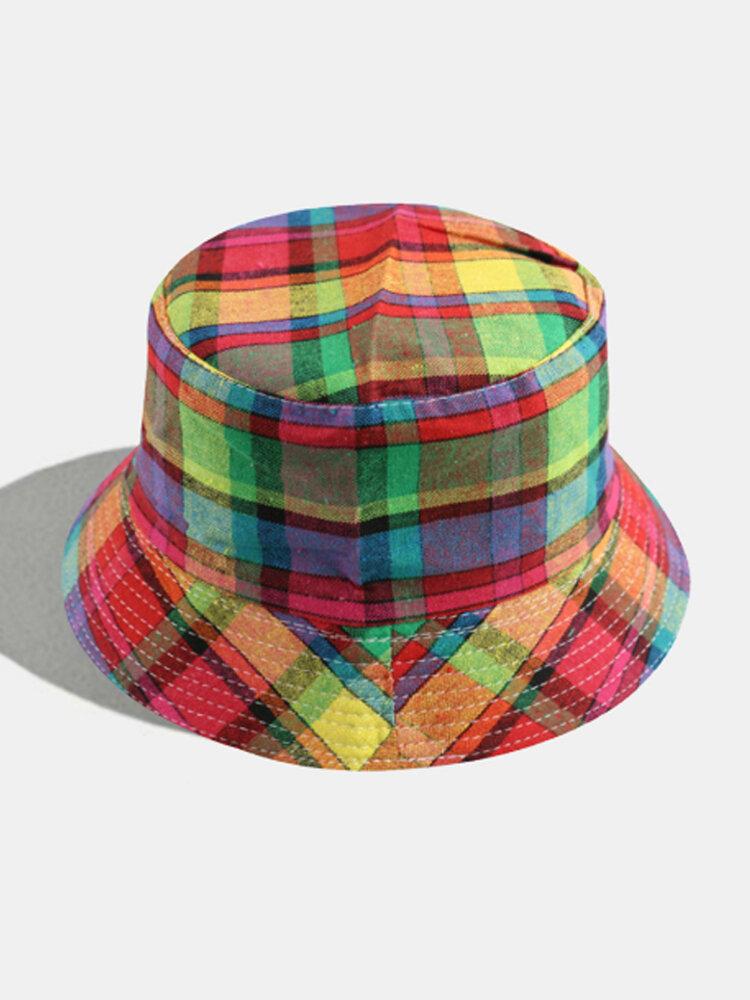 Women & Men Plaid Pattern Retro Port Style Windproof Soft All-match Travel Bucket Hat