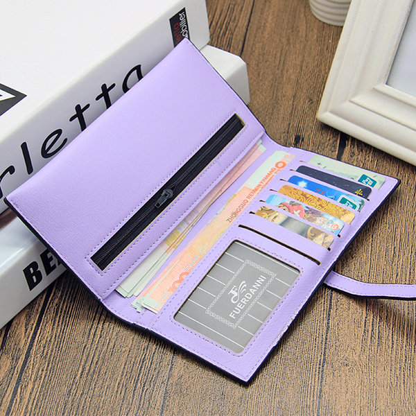 Stylish PU Leather Multi-slots Long Wallet Card Holder Purse For Women