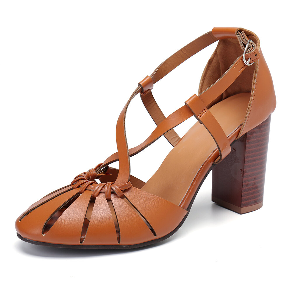 Zapatos de tacón alto con hebilla cruzada de color liso para mujer Banda
