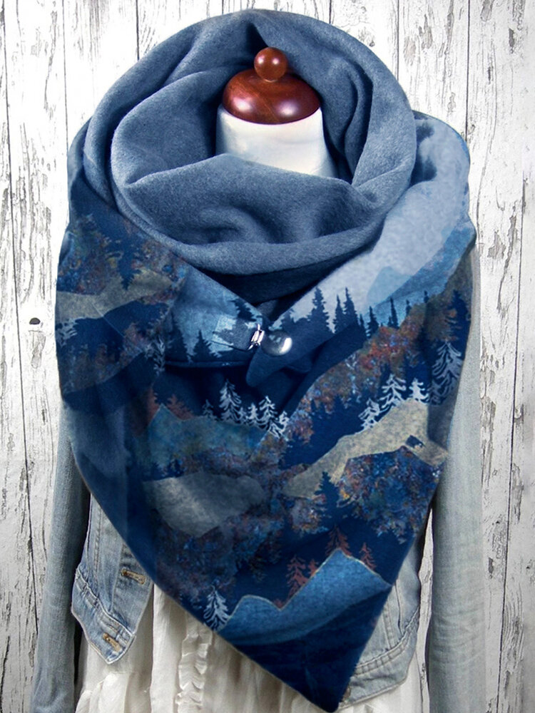 Women Mountain Treetop Print Pattern Soft Personality Neck Protection Keep Warm Scarf