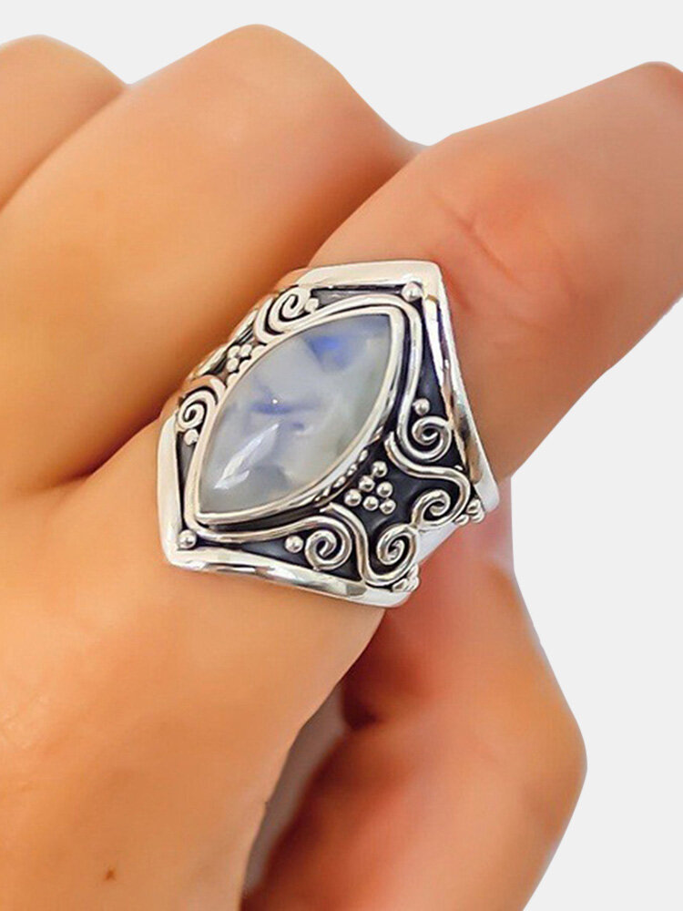 Vintage Moonstone Finger Ring Trendy Finger Accessories Gift Jewelry for Women