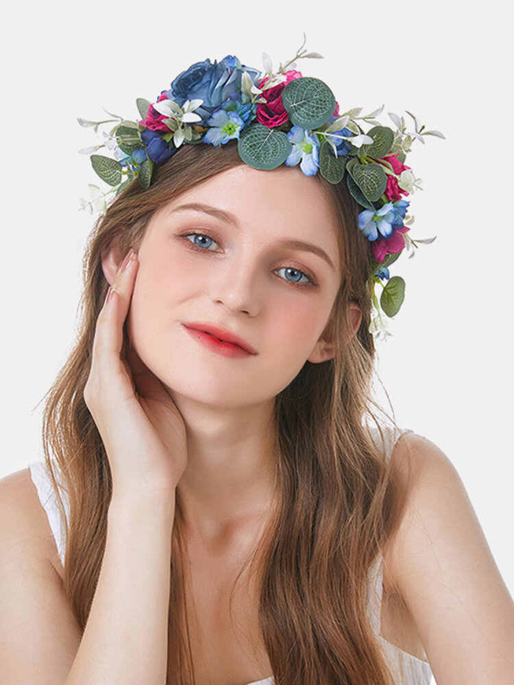 Christmas Eucalyptus Leaves Wreath Easter Cloth Flower Headband Bride Headdress