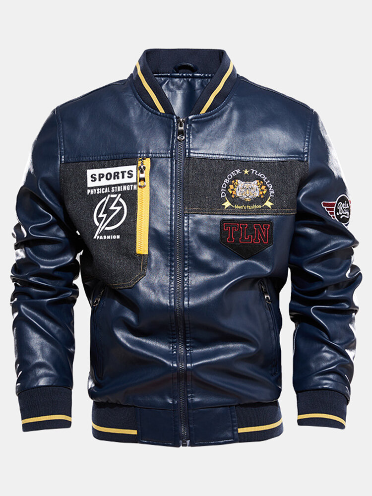 Mens PU Leather Casual Fleece Lined Thick Varsity Jacket With Badges