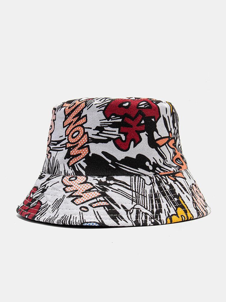 Unisex Cotton Colorful Graffiti Overlay Casual Outdoor Sunshade Bucket Hat