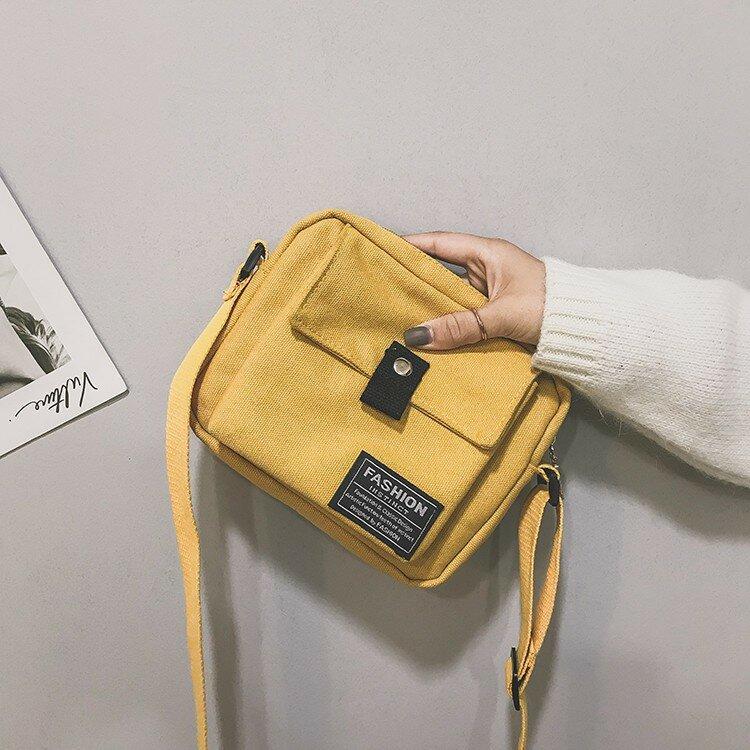 Women Simple Canvas Phone Bag Shoulder Bag