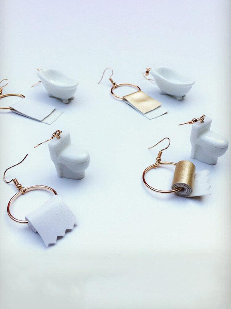 Metal Creative Hip-hop Toilet Paper Towel Bathtub Geometric Asymmetric Earrings Ear Clip