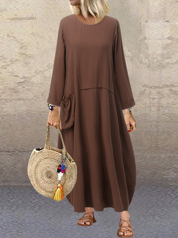 Casual Pleated Pockets Solid Cotton Plus Size Baggy Maxi Dress