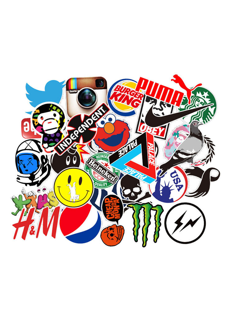100Pcs Tide Brand LOGO Stickers Decals Vinyls For Laptop Kids Cars Motorcycle Bicycle Skateboard