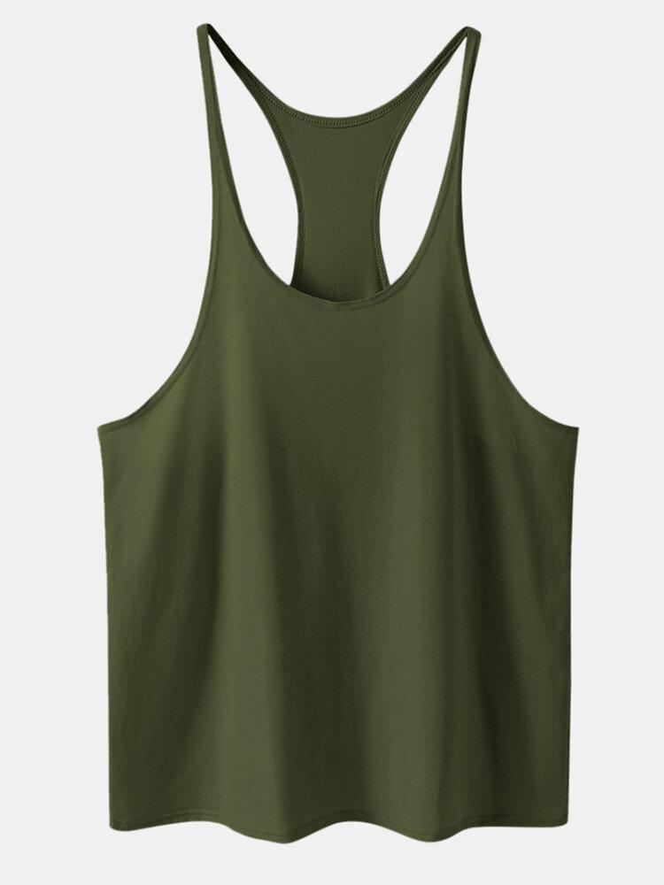 Workout Plain Breathable Cotton Tank Top for Men