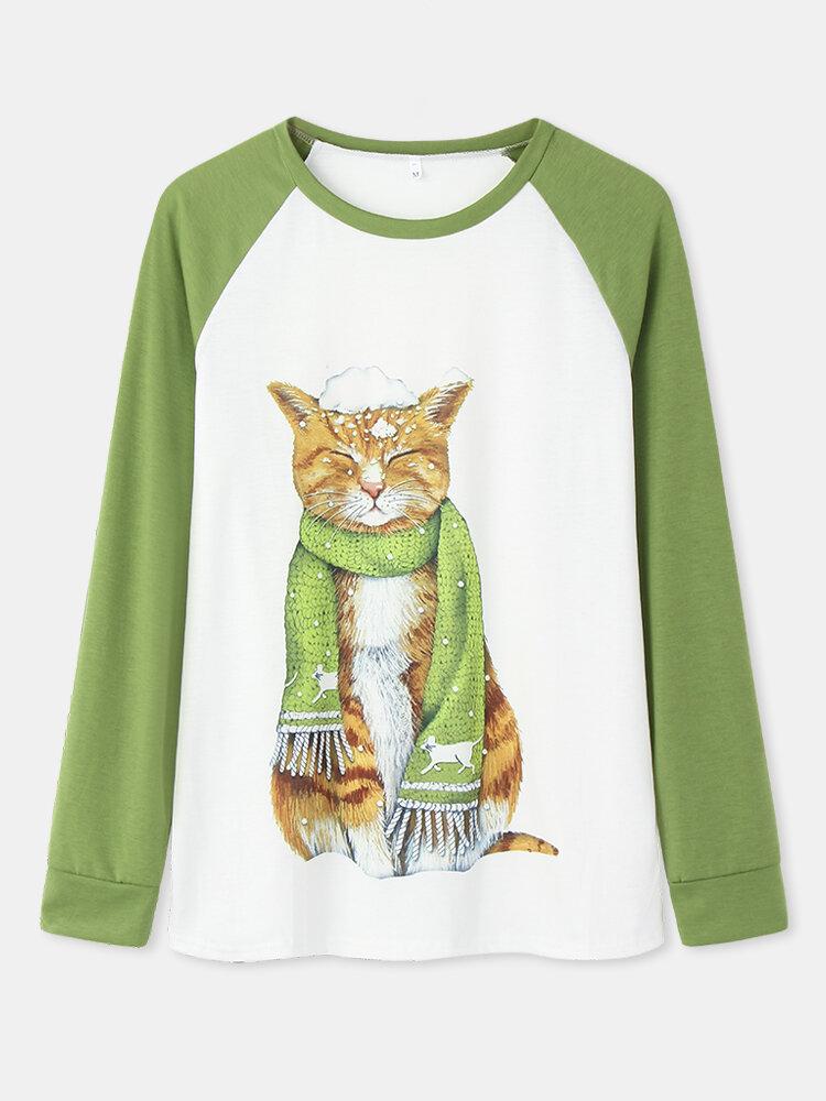 女性のための猫のプリントパッチワーク長袖カジュアルスウェットシャツ
