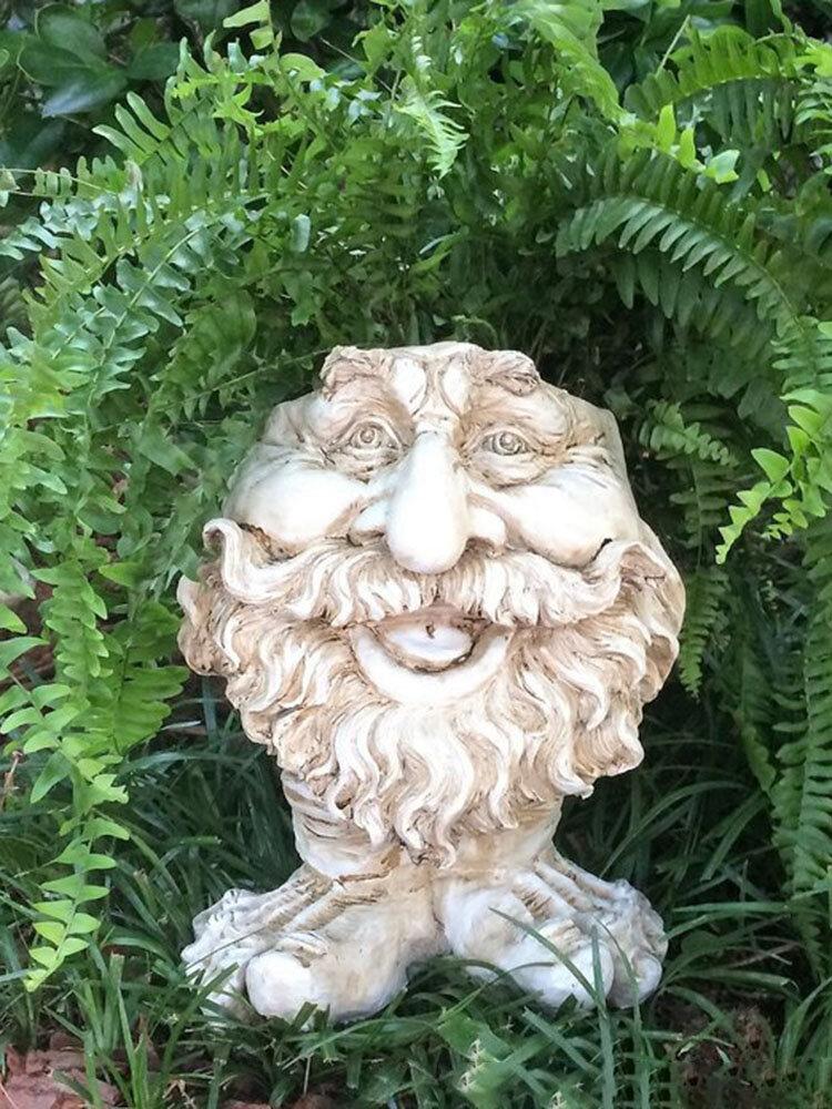 1 pieza divertida expresión Muggly's The Face estatua jardinera jardín hilo escultura decoración flor planta maceta