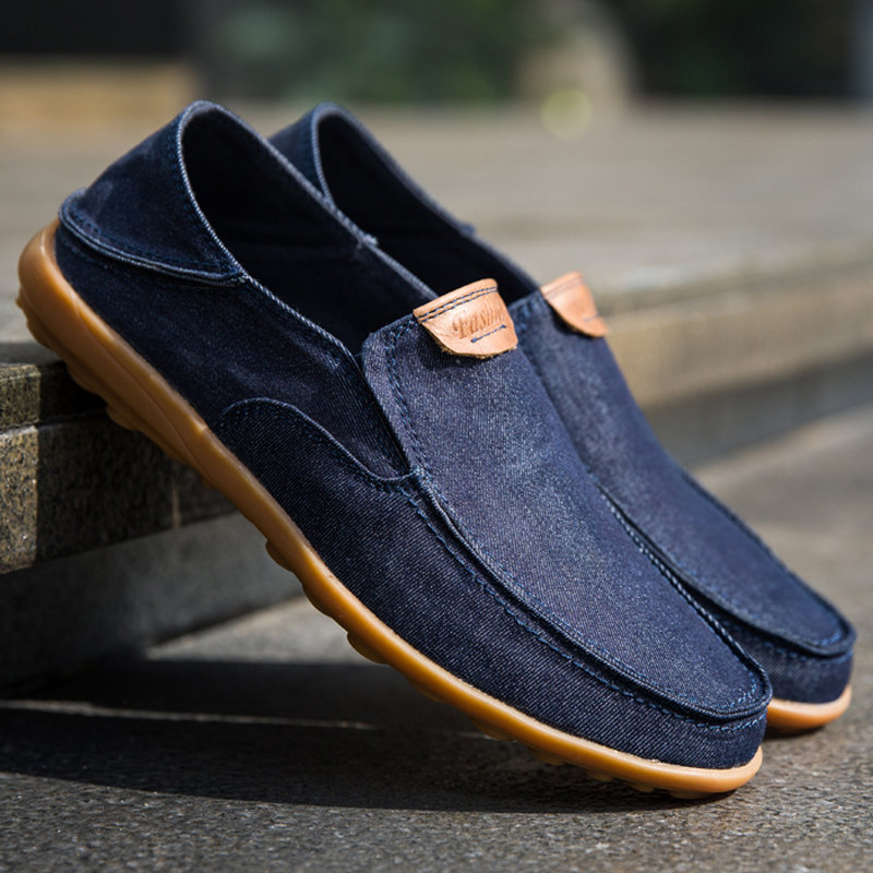 Men Canvas Collapsible Heel Non Slip Large Size Slip On Casual Shoes
