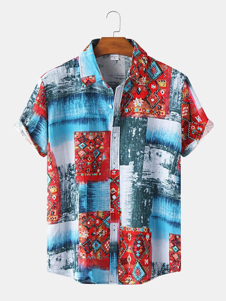 メンズトライバルパターンカラーブロックラペル半袖カーブドヘムシャツ