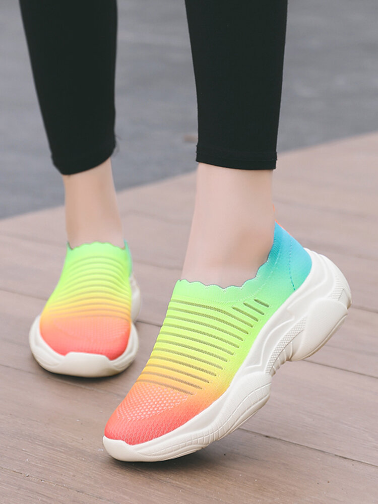 Women's Ombre Colorful Sneakers Comfy Breathable Stretch Knitted Fabric Platform Walking Shoes