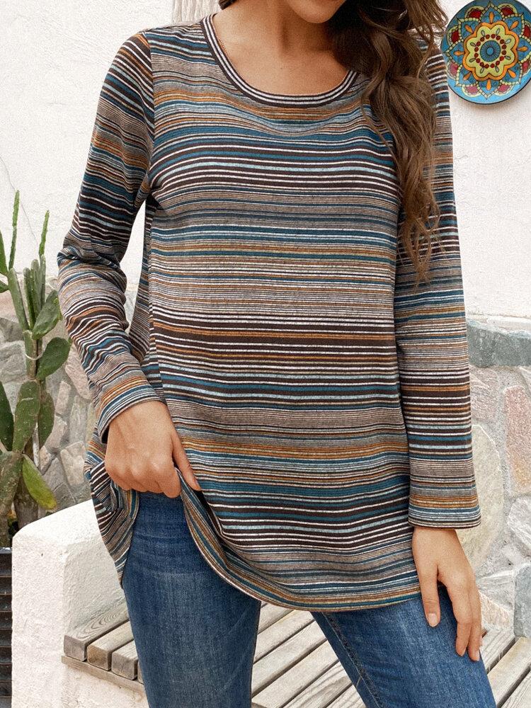 Vintage Striped Long Sleeve O-neck Asymmetrical T-shirt For Women