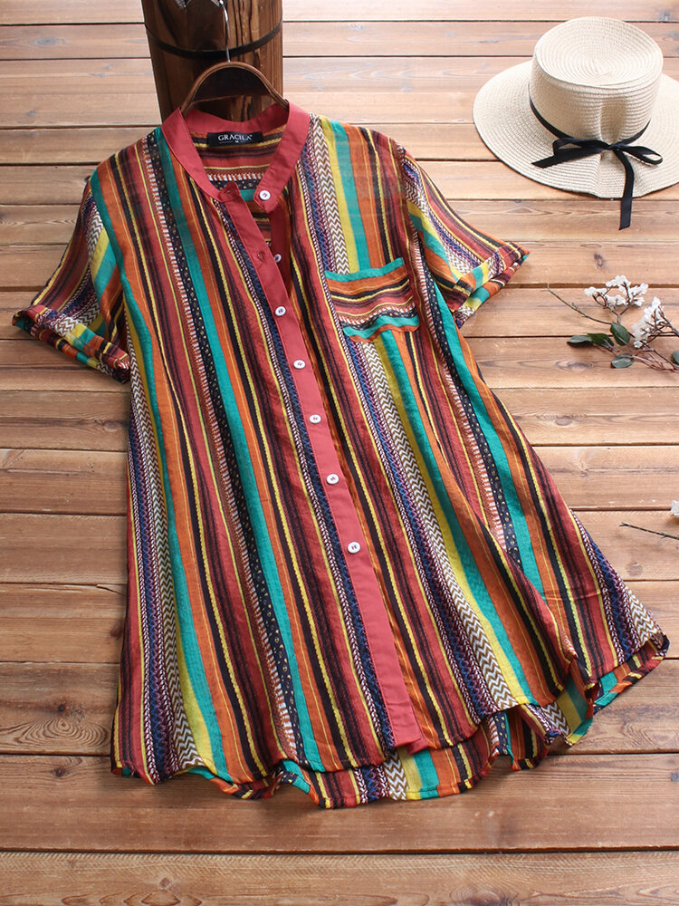 Multicolor Striped Casual Shirt