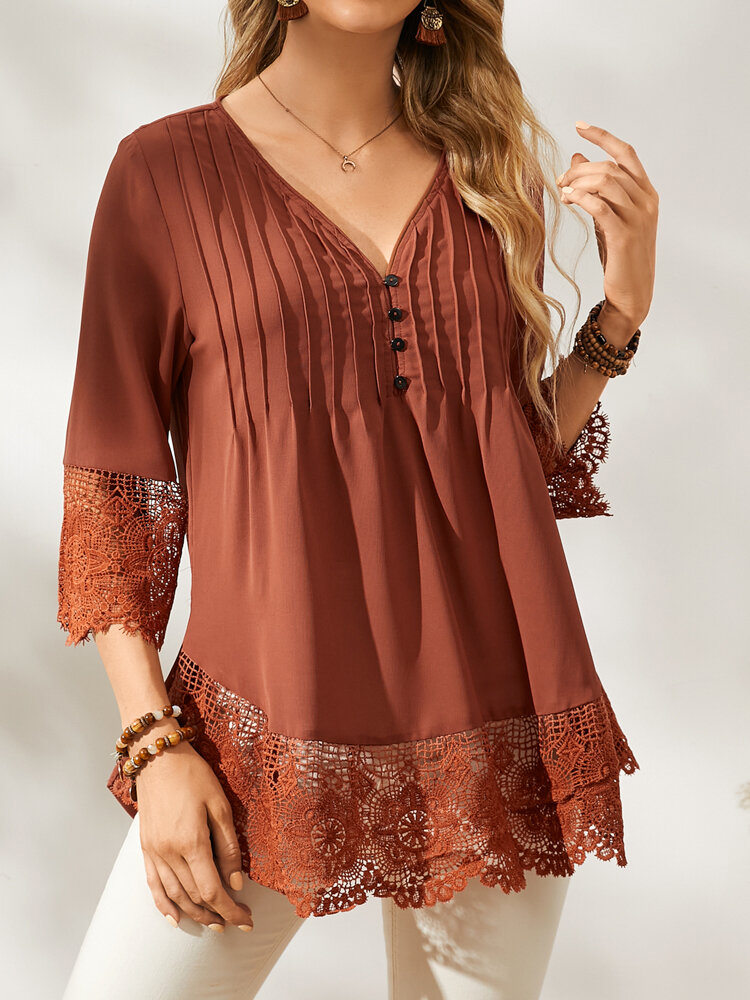 Casual Lace Patchwork Pleated Buttons 3/4 Sleeve Blouse for Women