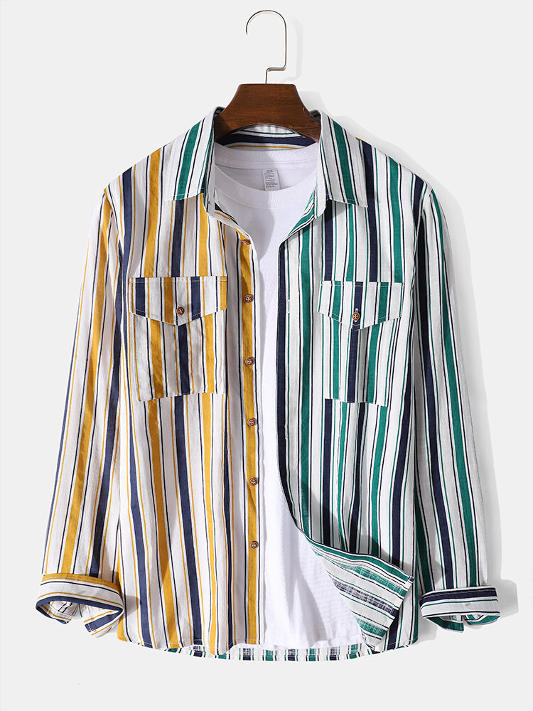 Mens Colored Stripe Patchwork Lapel Long Sleeve Shirts With Flap Pocket