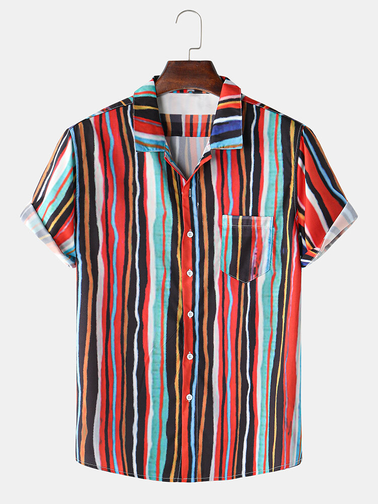 Mens Colorful Striped Printing Lapel Short Sleeve Holiday Shirts
