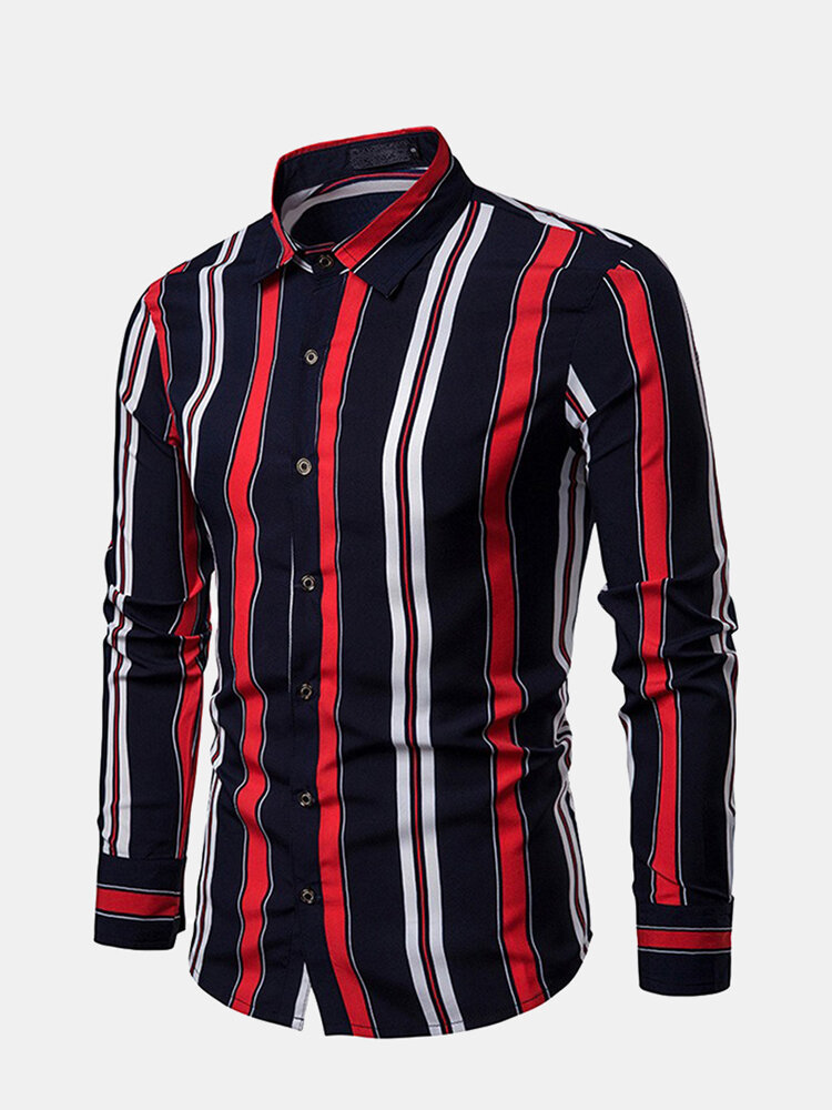 Men's Fashion Hit Color Striped Casual Long Sleeve Slim Fit Shirt