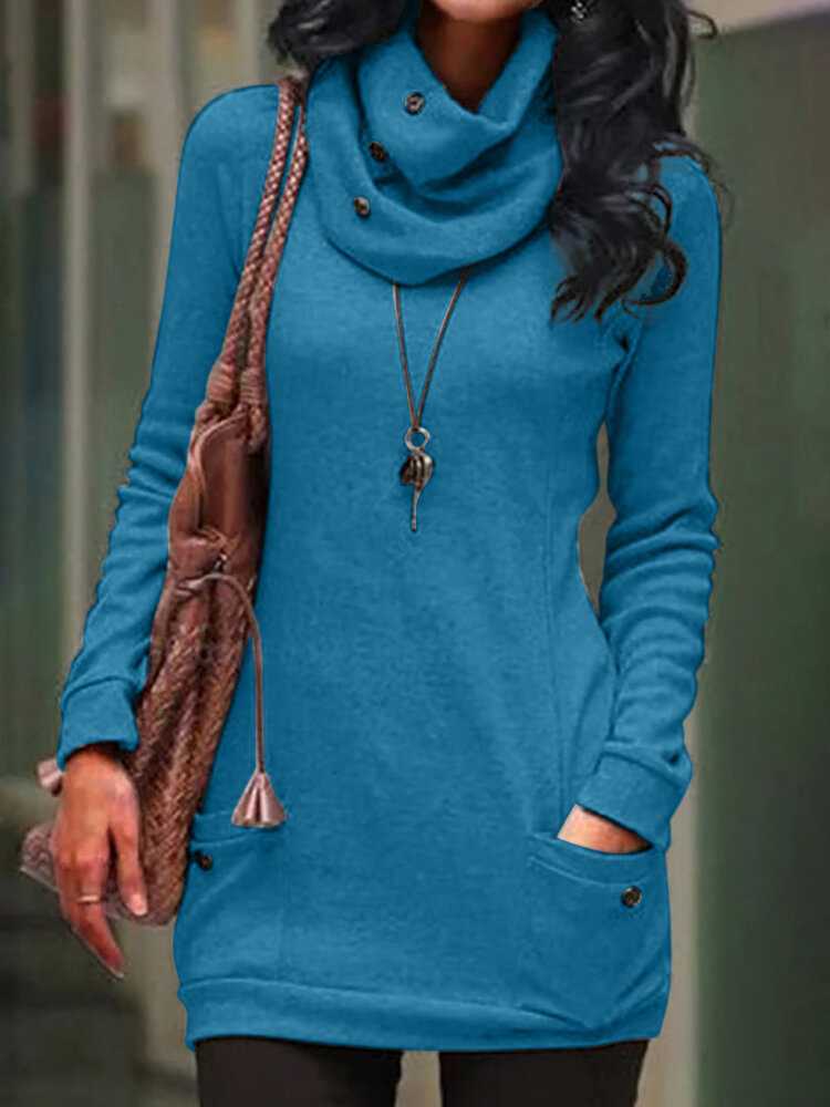 Casual Button Solid Color Heap Collar Loose Sweatshirt for Women