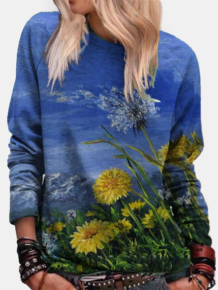 Landscape Calico Bedrucktes Langarm-Sweatshirt mit O-Ausschnitt