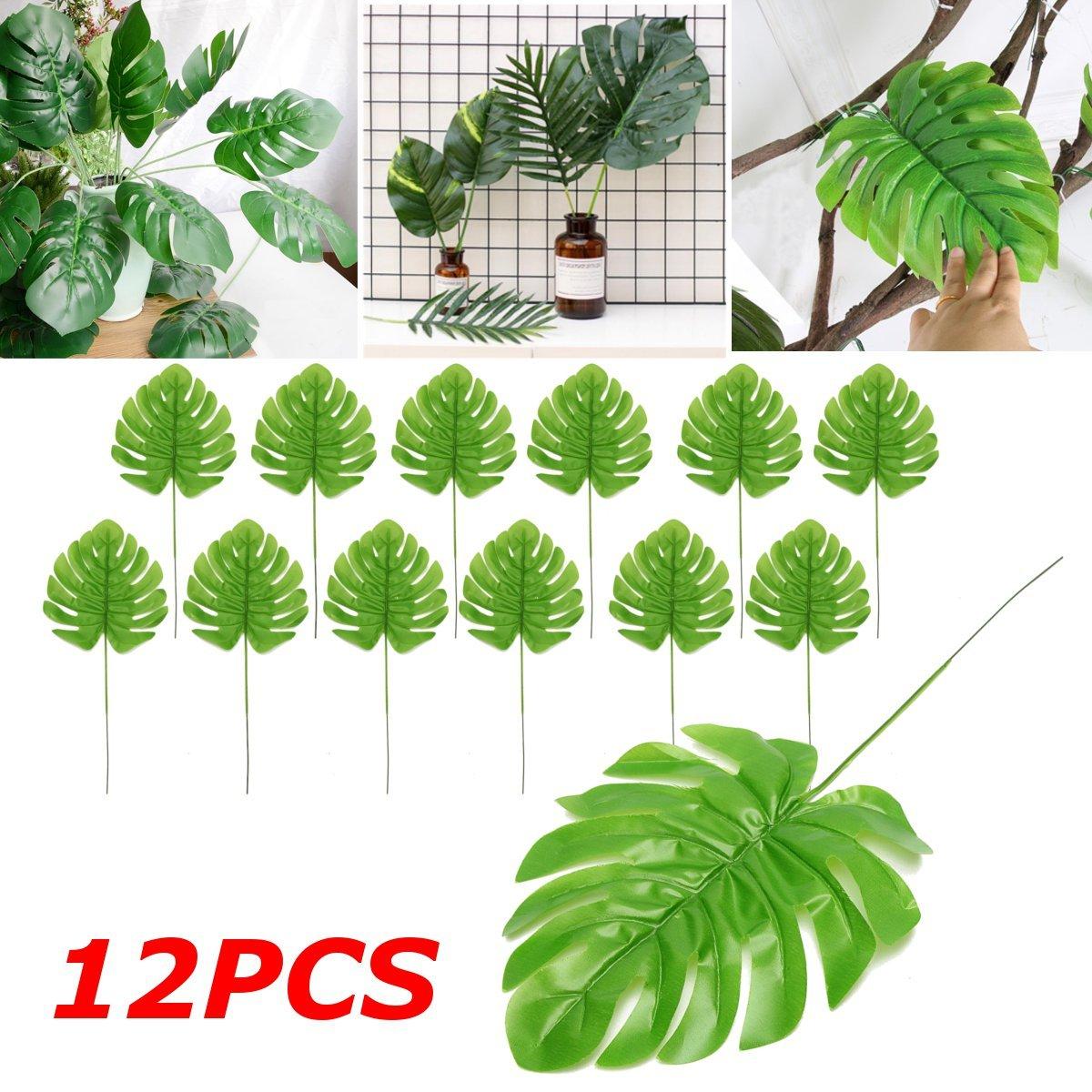 12Pcs Artificial Palm Fern Turtle Leaf Plant Tree Branch Green Wedding Home Decor