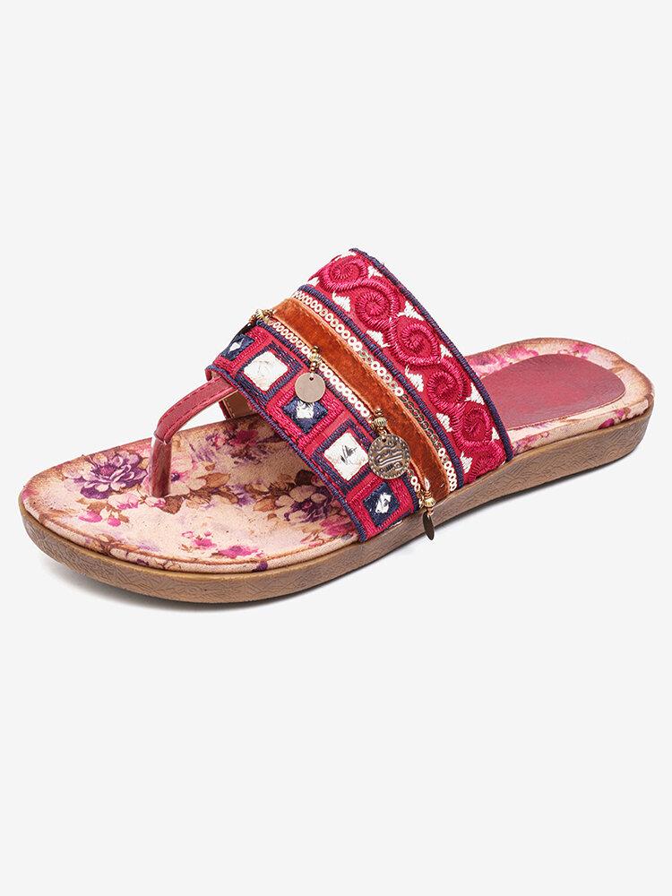 LOSTISY tongs perlées fleur impression clip orteil sandales de plage