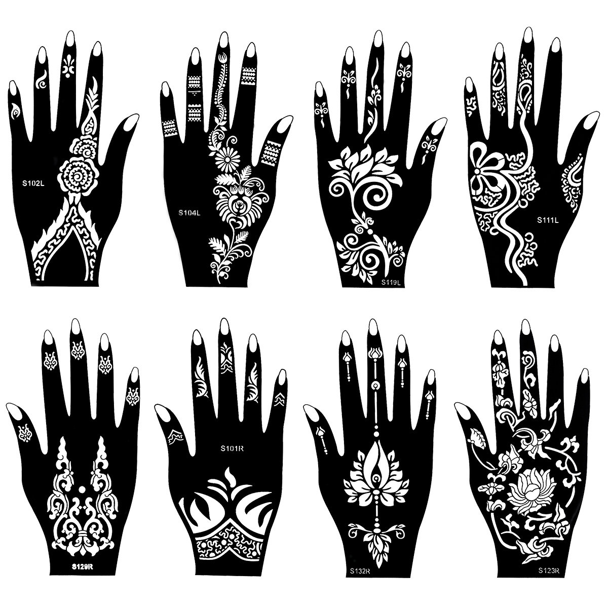 8Pcs_Henna_tattoo_Stencil_Temporary_Tatoo_Paste_Reuse_Template_Painting_Art_Both_Hand