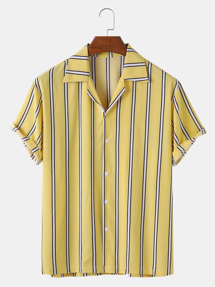 Mens Vertical Stripes Print Casual Summer Loose Light Short Sleeve Shirts