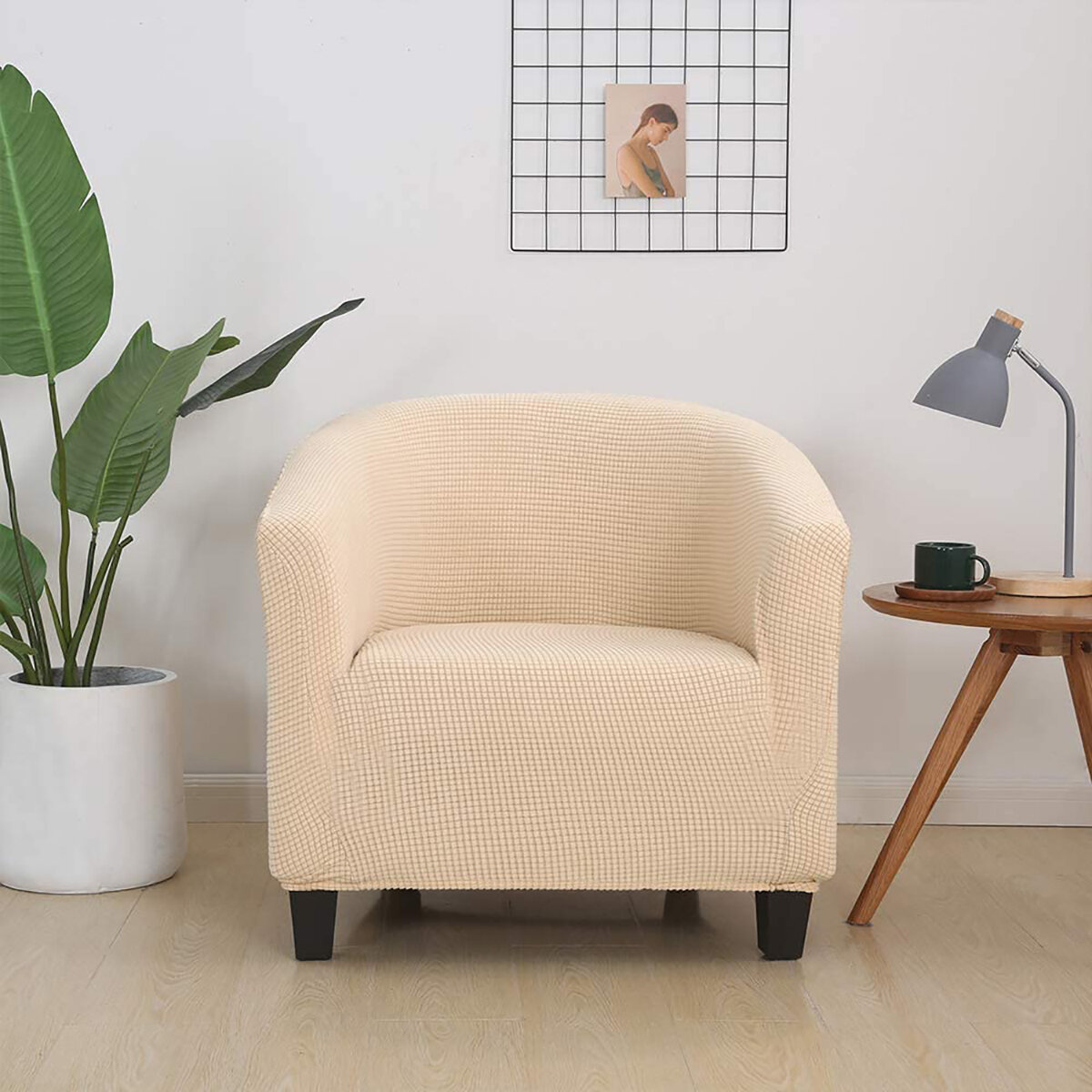 European Stretch Full-inclusive Single Sofa Cover Cafe Shop Hotel Room Solid Color Sofa Chair Cover