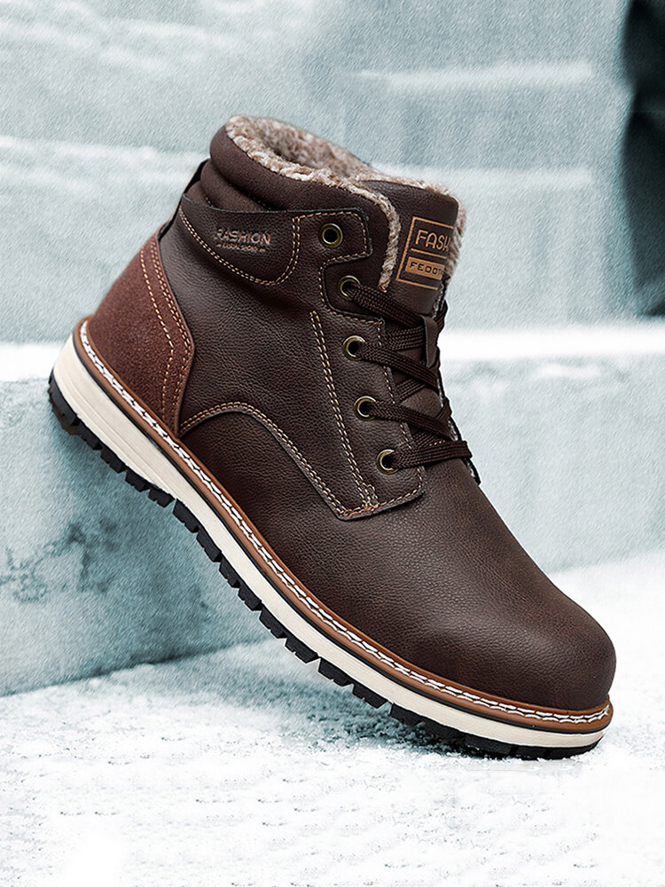 Men Microfiber Leather Waterproof Warm Plush Lining Lace Up Ankle Boots