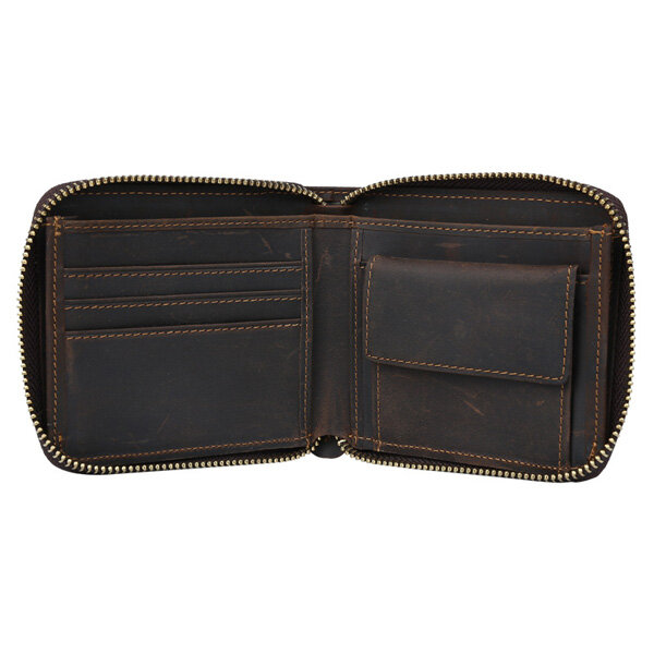 Men Genuine Leather Zipper Large Capacity Vintage Casual Wallet Cards Coins Purse