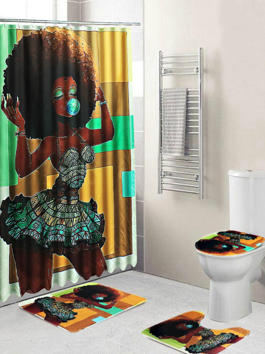 3Pcs Set Shower Curtain Non-Slip Pedestal Rug Lid Toilet Cover Bath Mat
