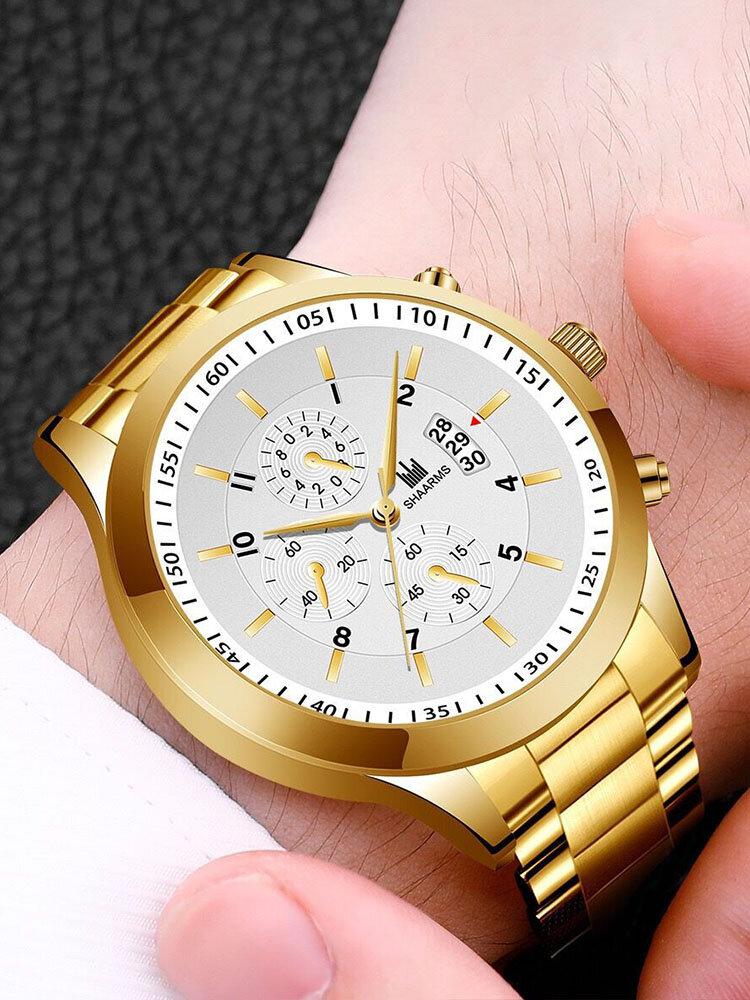 Alloy Steel Band Business Calendar Men Casual Fashion Quartz Watch