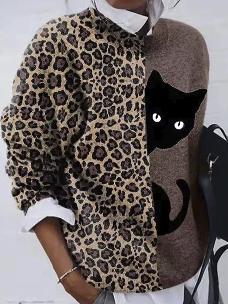 Leopard Cat Patchwork Printed O-neck Long Sleeve T-shirt