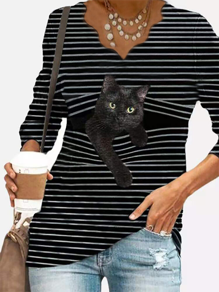 Cat Print Striped V-neck Long Sleeve Plus Size T-shirt for Women