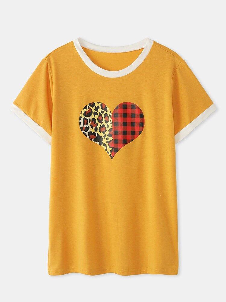 Women Leopard Plaid Print Loose Short Sleeve O-neck Casual T-Shirt