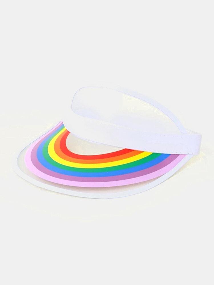 Unisex Dacron Transparente Regenbogenfarbe Außen UV Schutz Regenbogen Leere Oberseite Hut Baseballkappe