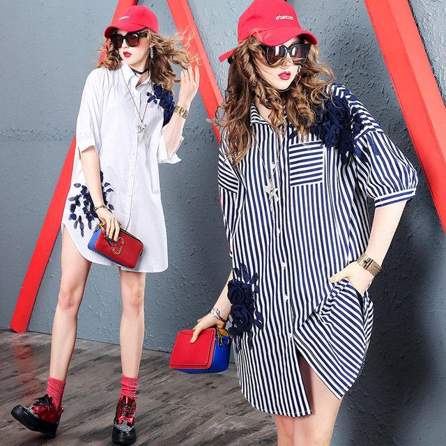 European And American Fashion High-end Handmade Beaded Shirt In The Long Loose Shirt Skirt