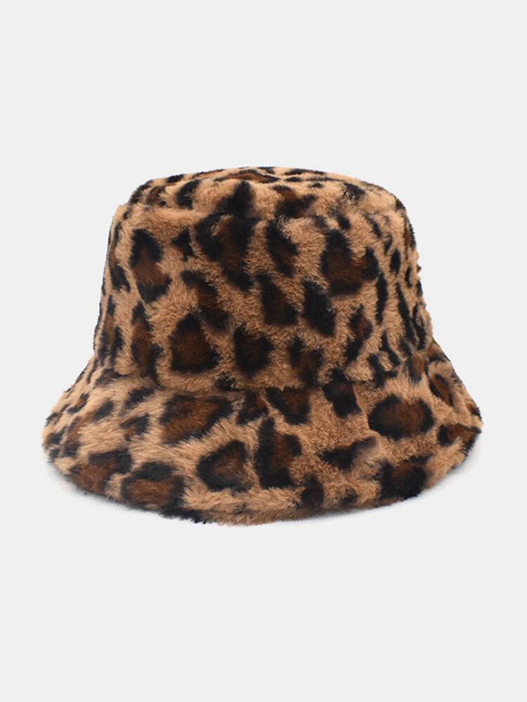 النساء والرجال صوف الحمل الدافئة Soft ليوبارد نمط عارضة شخصية دلو قبعة