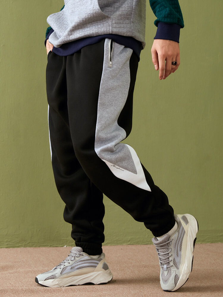 Mens Color Block Patchwork Preppy Cuffed Sweatpants With Zip Pocket
