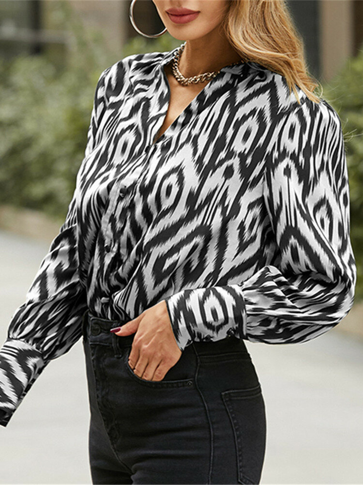 Print Long Sleeve V-neck Button Casual Blouse For Women